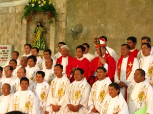 With the priests and the Bishop
